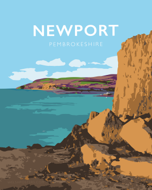 newport sands pembrokeshire beach coast path nationalpark print coastal wales west south poster welsh posters travel railway