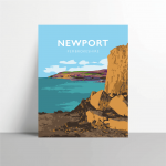 newport sands pembrokeshire beach pembs nationalpark print coastal wales west south poster welsh posters travel railway
