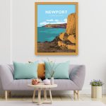 Newport Sands pembrokeshire beach pembs print coastal wales west north poster welsh posters travel railway