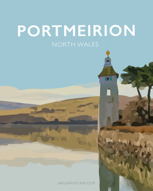 portmeirion gwynedd north wales framed poster print wales travel posters prints vintage style railway