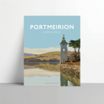 portmeirion gwynedd north wales metal prints poster print travel posters vintage style railway