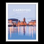 cardiff caerdydd welsh Cymraeg cmyru posteri teithio cymraeg printiau welsh posters welsh language white frame