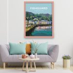 Fishguard Pembrokeshire Town Framed Coast Print Wales West North Pembs Poster Welsh Posters Travel Railway Pastel Modern Colours