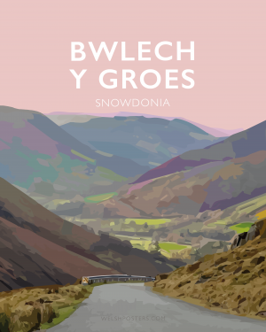 bwlech y groes snowdonia hellfire mountain pass cycling poster travel railway modern poster welsh north wales print