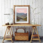 bwlech y groes snowdonia hellfire mountain pass cycling highest poster travel railway modern poster welsh north wales mounted print