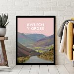 bwlech y groes snowdonia hellfire mountain pass cycling highest poster travel railway modern poster welsh north wales beautiful framed print