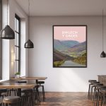 bwlech y groes snowdonia hellfire mountain pass cycling highest poster travel railway modern poster welsh north wales print
