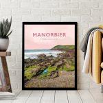 manorbier pembrokeshire wales beach coast poster print west south seaside welsh posters travel railway surf surfing gift art tenby prints