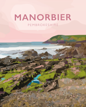 manorbier pembrokeshire wales beach coast poster print west south seaside welsh posters travel railway surf surfing gift art tenby prints