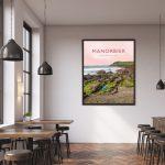 manorbier pembrokeshire wales beach coast poster print west south seaside welsh posters travel railway gift art frame
