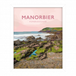 manorbier pembrokeshire wales beach coast poster print west south seaside welsh posters travel railway surf surfing gift art tenby white framed