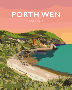 porth wen angelsey snowdonia poster travel vintage railway style poster welsh north wales print art
