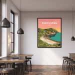 porth wen brickworks angelsey cemaes bay beach poster travel railway modern poster welsh north wales prints art gift framed