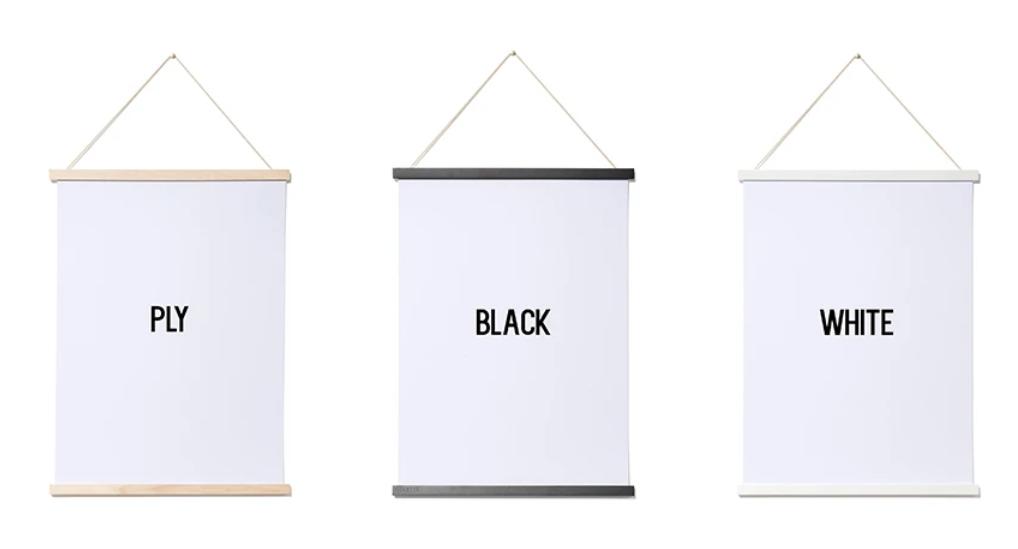 Magnetic poster frame Moxon welsh poster magnet hanger white black plywood hangers