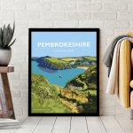 pembrokeshire wales beach coast poster print west south seaside welsh posters travel railway gift prints beautiful path