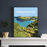 pembrokeshire wales beach coast poster print west south seaside welsh posters travel railway gift prints path