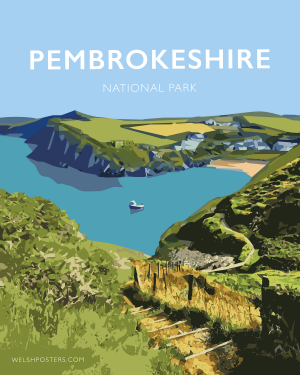 pembrokeshire wales beach coast poster print west south seaside welsh posters travel railway gift coastal path
