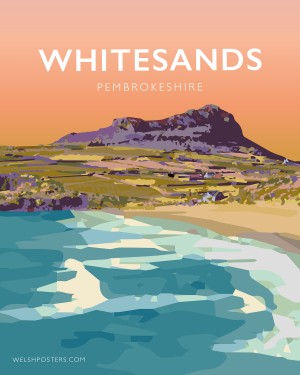 Whitesands Bay pembrokeshire wales beach coast poster print west south seaside welsh posters travel railway retro