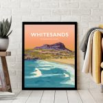 Whitesands Bay pembrokeshire wales beach coast poster print west south seaside welsh posters travel railway prints Pembs South Pembs Porth Mawr