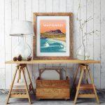 Whitesands Bay pembrokeshire wales beach coast poster print west south seaside welsh posters travel railway prints Pembs South Pembs St Davids beach