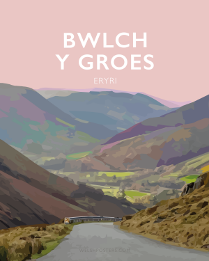Bwlch y Groes steep road climb northern Snowdonia eryri hellfire pass wales poster print cycling mountain welsh posters travel