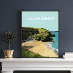 Llangrannog Beach Cardigan Bay Ceredigion pembrokeshire wales beach coast poster print west south seaside welsh posters travel