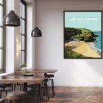 Llangrannog Beach Cardigan Bay Ceredigion wales beach coast poster prints seaside welsh posters travel
