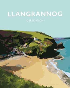 Llangrannog Beach Cardigan Bay Ceredigion wales beach coast poster retro prints seaside welsh posters travel
