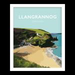 Llangrannog Beach Cardigan Bay Ceredigion wales beach coast poster retro prints seaside welsh prints gift posters travel