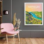 porthclais harbour st davids welsh posters Pembrokeshire coastal coast path art teifi wales poster print travel sunrise
