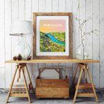 porthclais harbour st davids welsh posters Pembrokeshire coastal coast path art teifi wales poster print travel colourful