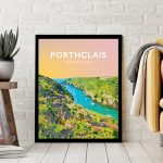 porthclais harbour st davids welsh posters Pembrokeshire coastal coast path art teifi wales poster print travel sunset