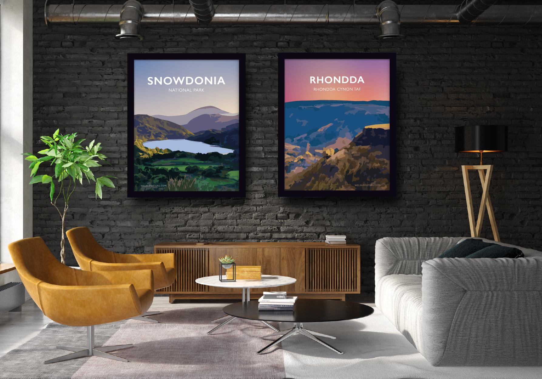 Welsh Posters Snowdonia and Rhondda Travel Posters