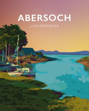 Abersoch Llyn Peninsula Harbourbeach Lleyn Gwynedd North Wales Coastal Seaside Poster Print Welsh Posters Travel Modern