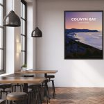 Colwyn Bay North WalesConwy Beach Bays Prom Wales Poster Print West Seaside Welsh Posters Travel Restaurant art