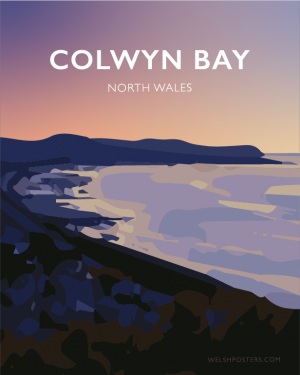 Colwyn Bay North WalesConwy Beach Bays Prom Wales Poster Print West Seaside Welsh Posters Travel Railway