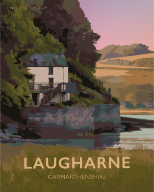 Dylan Thomas Boathouse Laugharne Carmarthenshire Thomas House Wales Poster Print West Seaside Welsh Posters Travel Modern Vintage