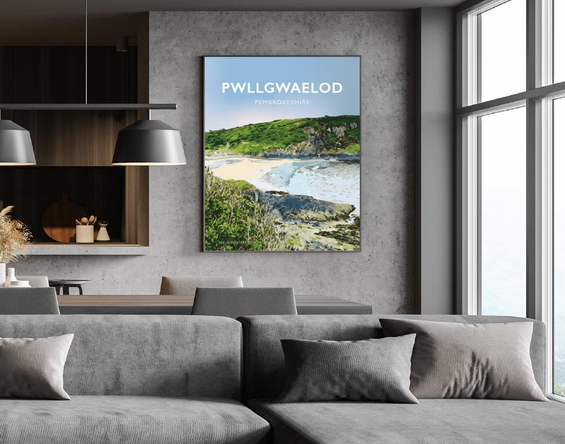 Pwllgwaelod Beach Dinas Head Pembrokeshire Sir Benfro Wales Poster Print West Seaside Welsh Posters Travel Calm Blues