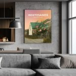 Whitesands Beach Bay Pembrokeshire Buoy Tree Wales Poster Print West Seaside Welsh Posters Travel Sunset Oranges Tranquil